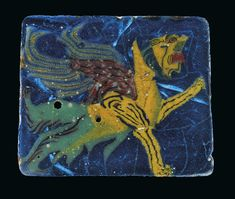 A Ptolemaic glass inlay showing a griffin, or perhaps a winged lion. I'm fascinated by how the figure is both carefully detailed and inadvertently flowy and abstract. Historical Artifacts, Ancient Artifacts, Ancient Egypt, Mosaic Glass, Glass Art, Lion, Indigenous Art, Ancient Jewelry, Egyptian Art