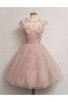 Shop Beaded Skin Pink Zipper Tulle Cocktail Dress NZ Online - Shopindress.co.nz
