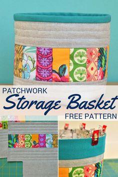 Patchwork Storage Basket | Free Pattern