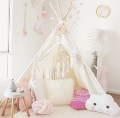 """""""The cutest little teepee + accessories! Love the cloud pillow! Cute Girls Bedrooms, Little Girl Rooms, Bed Crown Canopy, Magical Room, Cloud Pillow, Girl Bedroom Designs, Bedroom Ideas, Kids Decor, Decoration"""