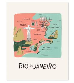 This Rifle Paper Co.® art print features a colourful illustrated map of Rio de Janeiro. This print is perfect if you yearn to travel or want to fondly remember your last trip. Each print is archival printed on natural white cover paper. Rifle Paper, Rio 2, Brazil Travel, Travel Illustration, Map Design, Design Ios, Travel Maps, Travel Photos, City Maps