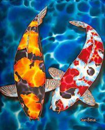 Jean Baptiste I was born on the Caribbean island of St. Koi Painting, Silk Painting, Aquatic Arts, Watercolor Fish, Fish Patterns, Mosaic Art, Mosaics, Paintings I Love, Fish Art