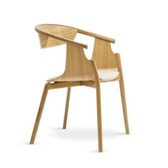 Simon Pengelly used steam-bent wood to form the seats and backs of the chairs, which are attached to a curving wooden frame with gently splaying legs.