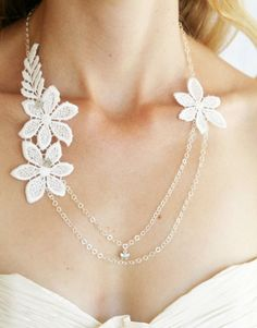 Spring Blossom Double chain necklace by LittleWhiteDresser on Etsy