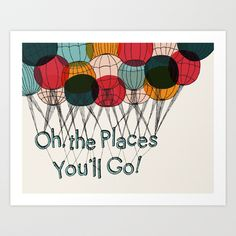 Oh the Places You'll Go Art Print by Lauren Owen - $15.00