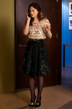 "Season 4, Episode 16: ""While You Weren't Sleeping"" Blair Waldorf (Leighton Meester) wears a Milly top, Bensoni skirt, DKNY tights and Roger Vivier shoes."
