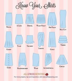 You& love our Know Your Skirts Guide! This printable sewing infographic gives you a diagram of some of the most popular styles of skirts.Don't fear bra-shopping ever again with our brand new Know Your Bras Guide! This printable sewing PDF is great if you Look Fashion, Skirt Fashion, Diy Fashion, Fashion Guide, Fashion Hacks, Fashion Ideas, Young Fashion, Petite Fashion, Curvy Fashion