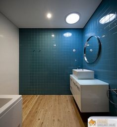 Bathroom Awesome Bathroom Tile Design Ideas With Round Mirror Lamp Blue  Wall Tile And White Sink Storage Bath Tub Also Wooden Flooring Wonderful  Modern ...