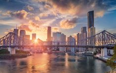 Download wallpapers Brisbane, Story Bridge, evening, sunset, skyscrapers, cityscape, Australia, Queensland, Brisbane River