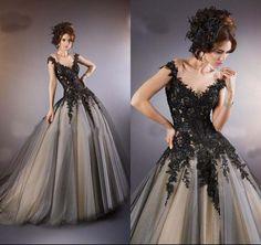 2016 Sexy-Line Черный V-образным Вырезом Тюль Тюль Аппликация Свадебное Платье Свадебные Платья Нестандартного Размера 2016