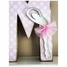 Letra decorada. Ballet, niña, rosa!