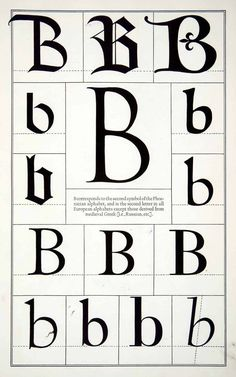 1942 Print Letter B Historic Typography Design Phoenician Print Frederic Goudy