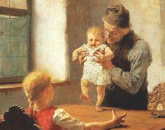 """Getting Started by Georgios Jakobides, 1889 => GERMAN  """"Erste Schritte"""", Gemälde von Georgios Jakobides, 1889"""