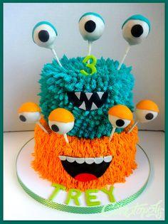 Monster Birthday Cake – Buttercream monster cake with cake balls for the eyes. Monster Birthday Cake – Buttercream monster cake with cake balls for the eyes. Monster Birthday Cakes, Monster Birthday Parties, Monster Party, Birthday Fun, First Birthday Parties, Monster Cakes, Monster Cake Pops, Boy Birthday Cakes, Birthday Ideas