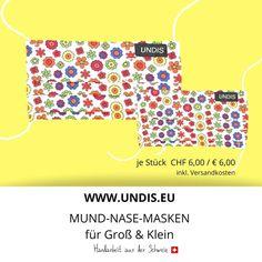 Bei UNDIS www.undis.eu gibt es jetzt auch MUND-NASEN-MASKEN im Partnerlook für Erwachsene und Kinder. Je Stück CHF 6,00 / € 6,00 (Versandkosten sind im Preis inkludiert) #undis #maskeauf #behelfsmaske #mundnasenmaske #mundmaske #gesichtsmaske #nähen #kreativ #bunt #maske #corona #virus #maske #mundnasenschutz #deutschland #schweiz #österreich #maske #kinder #eltern #diy #partnerlook #bunt #gesundheit #mundnasemaske Bunt, Corona, Kids, Great Gifts, Switzerland, Parents, Masks, Germany, Handarbeit