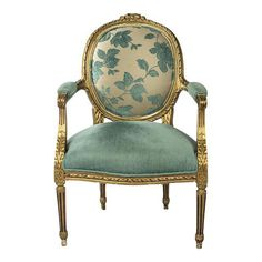 House Beautiful : Accent AQUA BLUE HUE - Open Armchair Louis XVI This Louis XVI open armchair has carved and molded frame with inset rosettes above the legs, gold painted gilt, and velvet upho Fire Pit Table And Chairs, Comfy Living Room Furniture, Couch Furniture, Armchair, Adirondack Chairs For Sale, Molded Chair, Furniture, Blue Dining Chair, Classic Furniture
