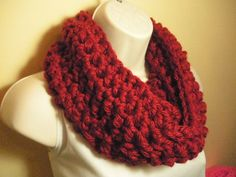 Scarlet Red Cowl Infinity Circle Scarf Neckwarmer by madebymandy35