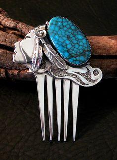 Navajo Handcrafted Silver Turquoise Pendant Comb Dan Nieto | eBay