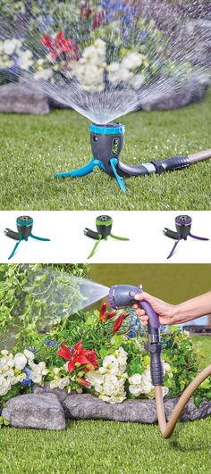 This unique garden tool combines a hand-held nozzle and an upright sprinkler into one super convenient device. Available in 3 fun, bright colors, the hose nozzle easily converts to a ground sprinkler. The sprinkler nozzle features 7 adjustable hand-spray patterns for all your plants and covers up to 870 sq. ft. with a gentle shower.