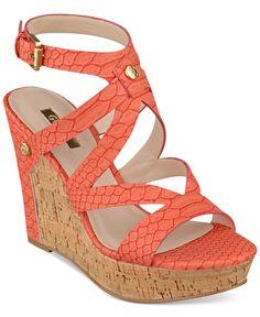Guess Women's Harlee Cork Platform Wedge Sandals