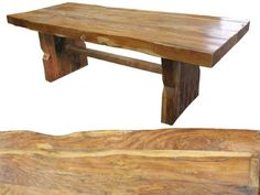 recycled wood table made from old wood beams