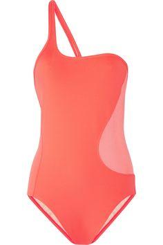 Adidas by Stella McCartney|Neon mesh-paneled one-shoulder swimsuit|NET-A-PORTER.COM