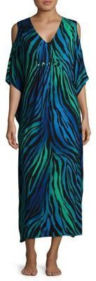 Ellen Tracy Plus Size Printed Caftan Nightgown