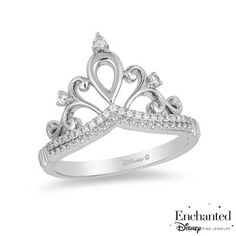 Enchanted Disney Princess 1/10 CT. T.W. Diamond Tiara Ring in Sterling Silver - Size 7