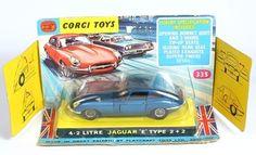 Corgi Toys 335 Jaguar E Type in original bubble pack. Pic by QualityDiecastToys.com