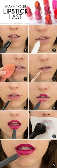 Make Your Lip Color Last: The Secret to Long-Lasting Lipstick - Feel like your lipstick is always running out on you? Want it to hang out a little longer? Here are 9 steps to lock those lips into place!: Makeup Tutorial, Make Up, Beauty Tips, Makeup Tips, Beauty Blogs, Beauty Make-up, Beauty Secrets, Beauty Hacks, Beauty Ideas, Beauty Products, Beauty Tips For Teens, Facial Products, Beauty Style