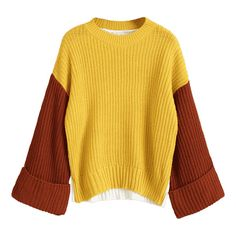 Pullover Color Block Oversized Sweater Yellow ($26) ❤ liked on Polyvore featuring tops, sweaters, colorblocked sweater, color block sweater, block sweater, color block tops and yellow sweater