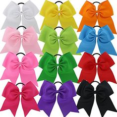 CHIFFON 7.5in Larger Jumbo Goody Cheer Bows Hair Ties Cheerleading Pony Tail Holder Elastic Head Loop For Girls Uniform Infant Accessories 12 Color Set
