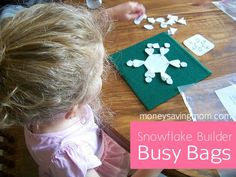 Snowflake Builder Busy Bag: Free Printable Pattern included
