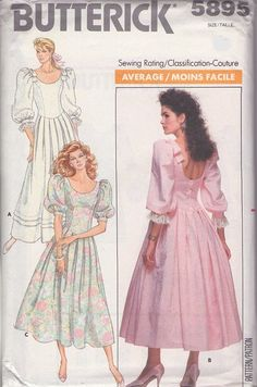MOMSPatterns Vintage Sewing Patterns - Butterick 5895 Vintage 80's Sewing Pattern LOVELY Scooped Neck & Dipped Back Basque Waist Pleated Skirt Garden Party Dress, Wedding Gown Size 12