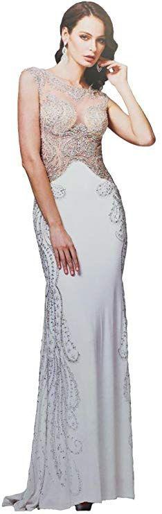 Meier Women's Sheer Bodice Embroidery Rhinestone Prom Evening Formal Dress White-8 Women's Evening Dresses, Formal Dresses, Bodice, White Dress, Prom, Embroidery, Fashion, Dresses For Formal, Senior Prom