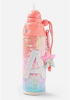 Justice is your one-stop-shop for on-trend styles in tween girls clothing & accessories. Shop our Ombre Initial Sleeved Water Bottle. Justice Backpacks, Justice Bags, Justice Store, Justice School Supplies, Cute School Supplies, Unicorn Room Decor, Unicorn Rooms, Tween Girls, Toys For Girls