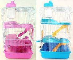 PETZONE HARRIET HAMSTER, MOUSE, GERBIL CAGE BLUE PINK 3 TIERS 3 STOREY NHC1184 (BLUE)