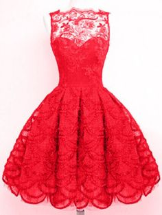 Full Lace Round Neck Sleeveless Flare Dress.....would it be a crazy wedding dress???