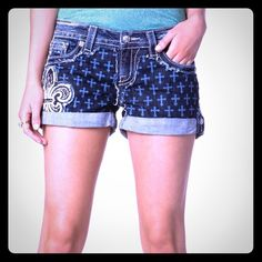 🎉Miss Me shorts Sz 26 cute print EUC HTF 😊 These Miss me shorts are hard to find rare design with fluer de lid on the front and cross in the denim these are rolled up and can not be let down they are also factory distressed Miss Me Shorts Jean Shorts