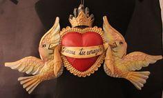 Tin Wall Ornament Dame tu Corazon Heart Crown & Doves Hand Made Mexican Folk Art