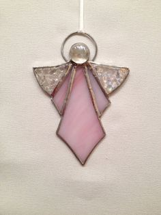 Stained Glass Ornament - Pink Angel