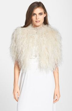 OMG I need this! Ted Baker London 'Dalina' Ostrich Feather Crop Jacket available at #Nordstrom