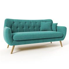 Renne 3 Seater Sofa, Turquoise