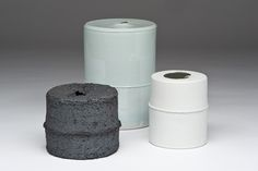 Group of 3 Celadon and Black