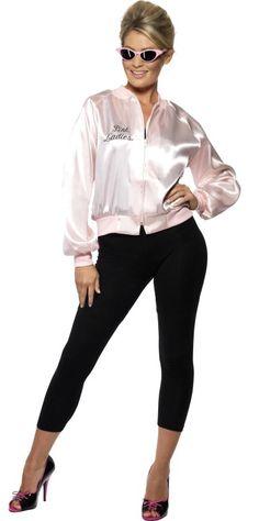 Rock n roll dames veste en satin rose 1950 COSTUME ROBE FANTAISIE tv film musical