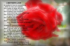 In Memory of Mother on Mother's Day | HAPPY MOTHER'S DAY! Poem, 'A MOTHER'S LOVE' by Helen Steiner ...