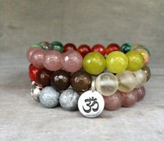 Gemstone Bracelets Yoga Jewelry Multi-colored Jade by mSsDdesigns #mSs #jewelryonetsy #etsyfinds #zen