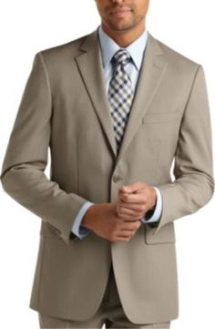 Pronto Uomo Tan Multistripe Suit - Modern Fit (Trim)  47ae8438d685