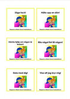 Mariaslekrum - Uppdragskort Preschool Friendship, Learn Swedish, Swedish Language, Felt Books, Social Skills, Teamwork, Montessori, Activities For Kids, Homeschool