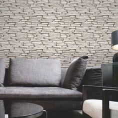 papier peint imitation pierre en gris